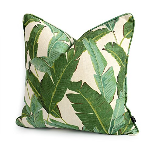"Hofdeco Tropical Pillow Cover ONLY, Green Banana Leaf, 20""x20"""
