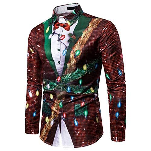 T-Shirt Männer Winter Tops Coole T-Shirt 3D Druck Weihnachtshemd Kreativ Muster Shirts Herren Weihnachtsbaum Print Slim Fit Bluse Freizeit Hemd 3D Reise Partyhemd für Weihnachtsfeier M-XXXL