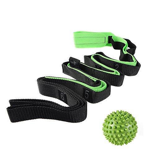 Correa de Estiramiento con Bola Multi-loop para Yoga Terapia Física Pilates Fitness Ejercicio de Flexibilidad Baile Gimnasia 2.27M x2.5CM