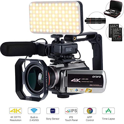 4K Camcorder with 64X Digital Zoom,Connecting with Telescope/LED Light/Microphone &Other Accessories (Camera Bag&64 GB SD Card) by Emperor of Gadgets