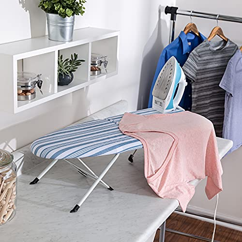 """Honey-Can-Do Folding Tabletop Ironing Board with Iron Rest BRD-09222 Blue, 32"""" L x 12"""" W"""
