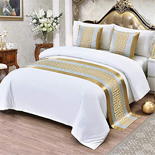 XJZKA Bufanda de Lujo para Ropa de Cama, colchas de algodón y poliéster, cubrecamas, cubrecamas, decoración de Toallas de Cama para Dormitorio de Hotel, azul-50X180cm para Cama de 120cm