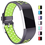 Mornex Strap Compatible Fitbit Charge 2 Strap Bands,Soft TPU Sports Wristbands Bracelet Replacement Straps with Breathable Holes, Adjustable Watchband