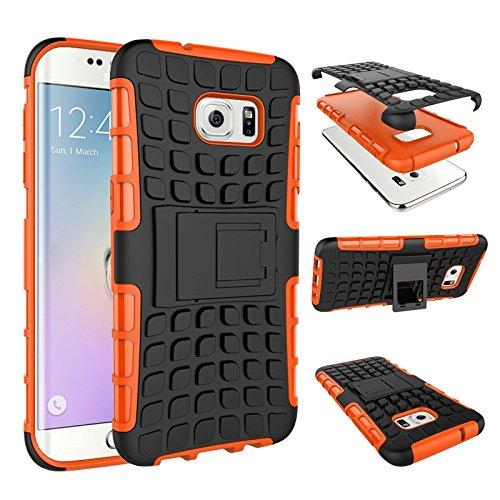 pinlu Custodia per Samsung Galaxy S7 Edge Smartphone Armatura Rugged Heavy Duty Cover Doppio Strato TPU + PC Antiurto Protettiva Case Pneumatico Modello Arancione