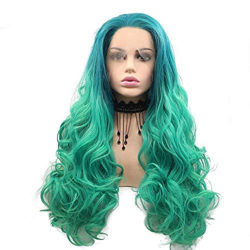 AQWESD Perruque Synthétique Synthétique avec Avant de Lacet Délié Impeccable pour Drag Queen Curly Wave 24 Pouces Bleu Ombre Vert