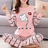 Conjunto de Pijamas para Mujeres Pijamas de Invierno para Mujeres Pijamas Finas de Dibujos Animados Pijamas Impresas Mujeres de Manga Larga Ropa de Dormir Linda CasualLarge