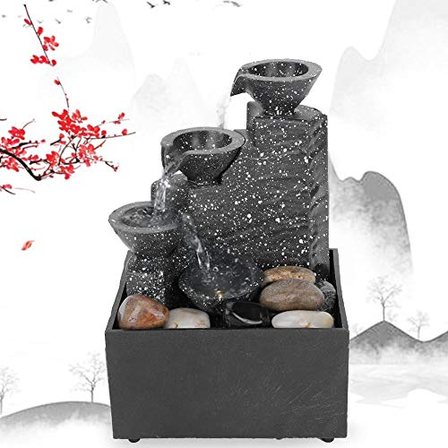 Fuente de agua de escritorio,fuente de mesa USB con cascada LED de 3 niveles,manualidades decorativas de Feng Shui para interiores, sonido de agua relajante y calmante,para decoración de mesa de of