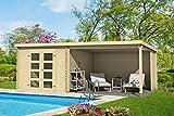Gartenhaus G245-28 mm Blockbohlenhaus, Grundfläche: 16,50 m², Pultdach