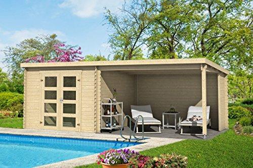 *Gartenhaus G245-28 mm Blockbohlenhaus, Grundfläche: 16,50 m², Pultdach*
