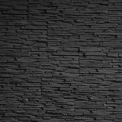 EPS-Schaumstoff Verblendsteine Tasso Ultraleicht - Wanddekoration/Fliesen/Verblendstein/Wandplatten (schwarz)