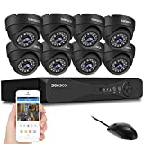 SANSCO [TRUE 1080p] 8 Channel FHD CCTV Camera System with (8) 2MP All Weather Dome Cameras, No Hard Drive Disk (1080p Smart DVR, Instant Email Alerts, Day/Night Vision)