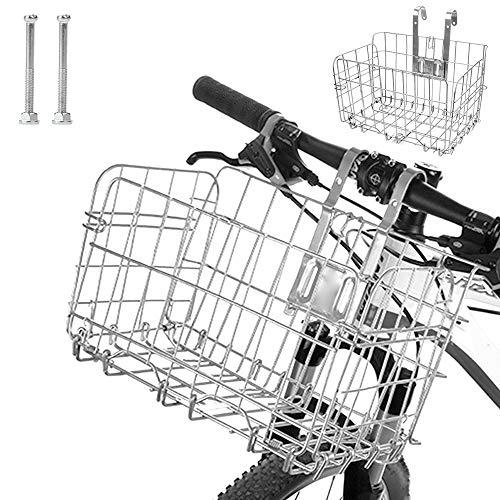 Rosepoem Cesta de bicicleta plegable de malla de alambre desmontable plegable para bicicleta cesta de 12,8 x 7,8 x 21,7 cm para colgar bolsa de hierro
