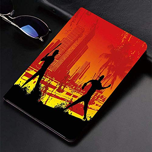 Case for iPad (9.7-Inch, 2018/2017 Model, 6th/5th Generation) Ultra Slim Lightweight Smart Cover,Teen,Men Playing Baseball in Town City Park Tall Buildings Urban Scenery,Smart Covers Auto Wake/Sleep