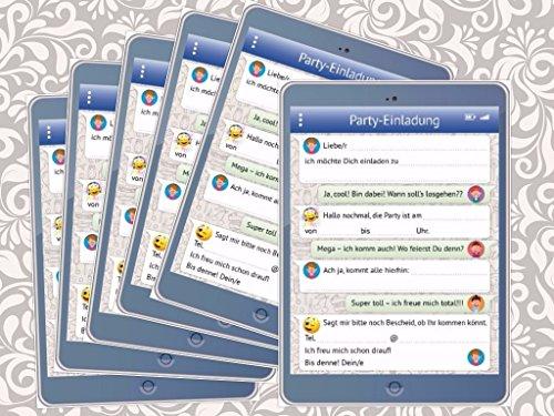 Lustige Tablet-Einladungskarten Set (10730) mit WhatsApp-Nachricht und Smileys (Emojis) zum Kindergeburtstag von EDITION COLIBRI © - umweltfreundlich, da klimaneutral gedruckt (6)