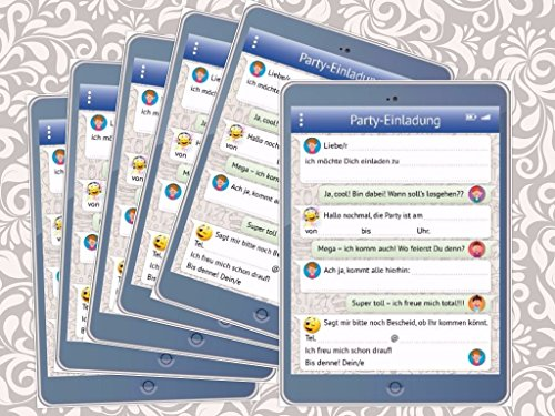 Lustige Tablet-Einladungskarten Set (10730) mit WhatsApp-Nachricht und Smileys (Emojis) zum Kindergeburtstag von EDITION COLIBRI - umweltfreundlich, da klimaneutral gedruckt (6)