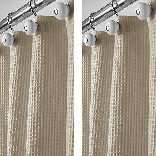 mDesign 2er-Set Luxus Duschvorhang aus Baumwollmischgewebe - cooler Duschvorhang mit Waffelmuster - pflegeleichter Badewannenvorhang - beige
