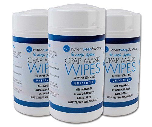 Patient Sleep Supplies CPAP Mask Wipes - 3 Packs of 62 Wipes