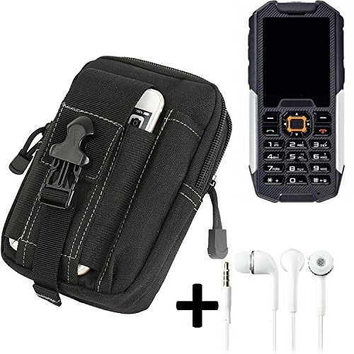 K-S-Trade Gürteltache für Cyrus cm 7 Gürtel Tasche Schutzhülle Handy Schutz Hülle Smartphone Tasche Outdoor Handyhülle schwarz inkl. Extrafächer + Kopfhörer
