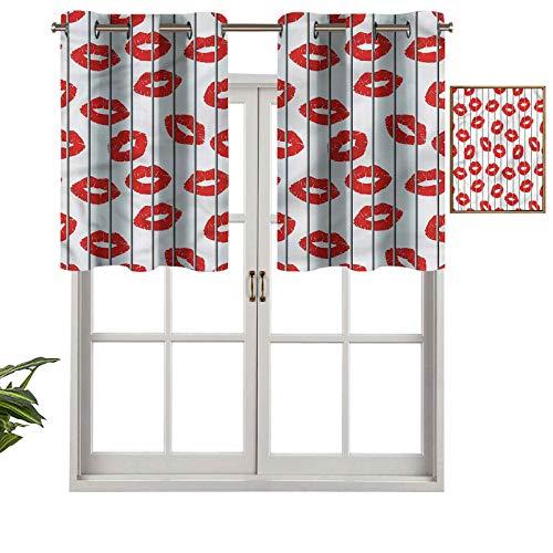 Hiiiman Cortina opaca con ojales en la parte superior, tratamiento para ventana, diseño de labios sexy, para mujer, juego de 1, 127 x 45 cm para sala de estar, cenefa corta recta