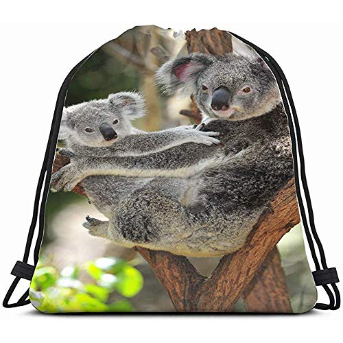 Australian Koala Bear Her Baby Joey Animals Wildlife Nature Drawstring Backpack Bag For Kids Boys Girls Teens Birthday, Gift String Bag Gym Cinch Sack For School And Party