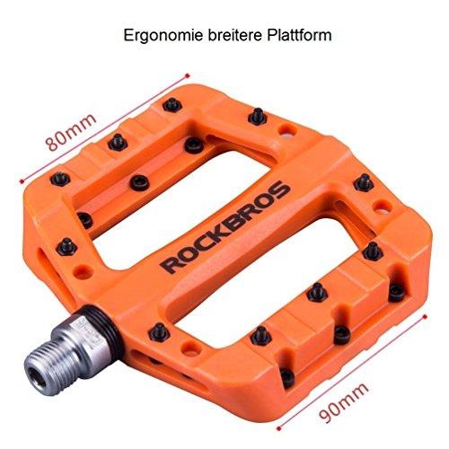 ROCKBROS Fahrradpedale Nylon Composite Flatpedale 9/16 Mountain Bike Pedale 3 Bearing rutschfest Wasserdicht Anti-Staub - 4
