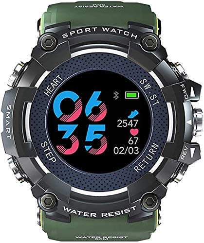 Outdoor Smart Multi-Function Watch Heart Rate Monitoring Caller ID Sedentary Reminder Remote Camera Smart Anti-Lost Best Gift Black-Green