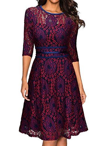 MIUSOL Damen Elegant Spitzen Abendkleid 3/4 Arm Knielang Hochzeit Brautjungfer Ballkleider Rot-blau Gr.L