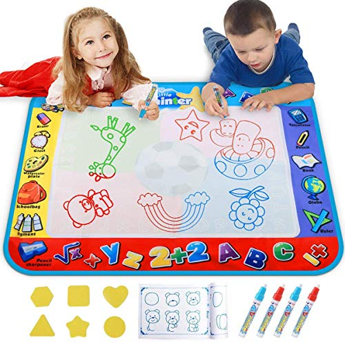 Alago Aqua Coloring Mat,Kids Toys Large Water Painting Mat,Toddlers Doodle Pad with 4 Colors,Gifts for Girls Boys Age 3 4 5+ Years Old,4 Pens,Drawing Molds and Booklet Included