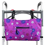 RMS Walker Bag with Soft Cooler - Water Resistant Tote with Temperature Controlled Thermal Compartment, Universal Fit for Walkers, Scooters or Rollator Walkers (Purple Flower)