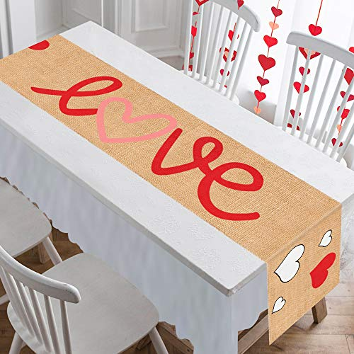 Mosoan Burlap Valentines Table Runner - 13 x 72 Inches - Rustic Love Heart Table Runner for Valentines Day Dinner Table Decorations