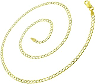 925 Italian Sterling Silver 2.5mm - 10.5mm Solid Cuban Diamond Cut Chain, FREE Microfiber Cloth, ITProLux Yellow Gold Plated Pave Curb Link Necklace 16