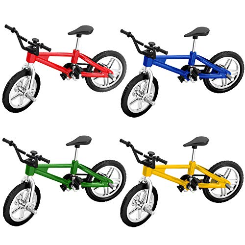 Novelty Place Mini Finger Bike - Miniature Fidget Bicycle Toy Game Set for Kids and Adult - Metal Bike Model Collections Decoration - 4 Colors (4 Pack)