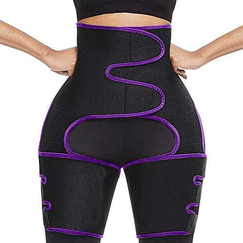 Waist Trainer for Women Weight Loss Plus Size High Waist and Thigh Trimmer Adjustable Slimmer Wrap Sweat Belt Butt Lifter Workout Body Shaper for Women Men (Purple, L-XL)