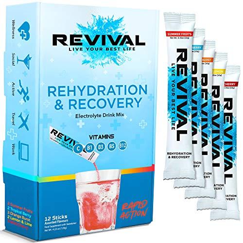 Revival, Rehidratación Rápida: Polvo de electrolitos - Potente Suplemento de Vitamina C, Bebida de Rehidratación, Tabletas Efervescentes para la Hidratación y Resaca Cura - Múltiple 12 Paquete