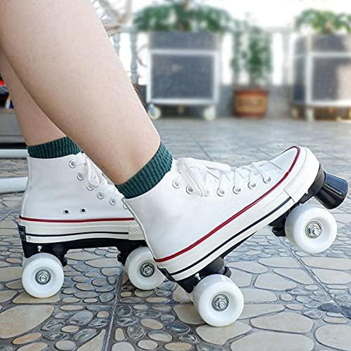 XRDSHY Patines Roller Doble Fila 4 Ruedas para Mujer Botas Patines Lona Hombre Adulto Zapatos De Patinaje Patines para Niños Interior Y Exterior,White-37