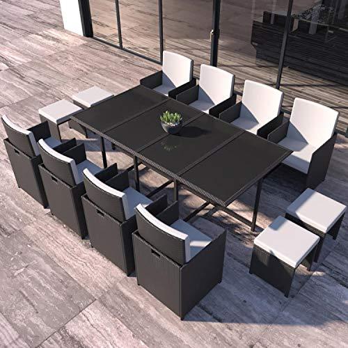 Concept Usine - Salon De Jardin Florida 12 Personnes en Résine Tressée Noir - 1 Table en Verre - 8 Fauteuils - 4 Poufs - Coussins Blanc - Encastrable, Résistant, Imperméable