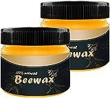 Beewax - Cera de abeja tradicional para madera y muebles, Beewax multiusos para limpiador de madera y toallitas de pulido – no tóxico para muebles para embellecer y proteger (2 unidades)