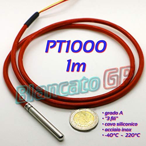 Sonda PT1000 Clase A con cable de silicona Sensor de temperatura RTD Termómetro