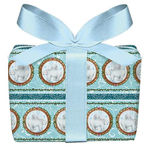 3er Set Weihnachts Geschenkpapier Bögen Eisbär mit Baby Eisblau Türkis zu Weihnachten, Adventszeit, Weihnachtspapier für Weihnachtsgeschenke, Adventskalender, Format 50 x 70 cm