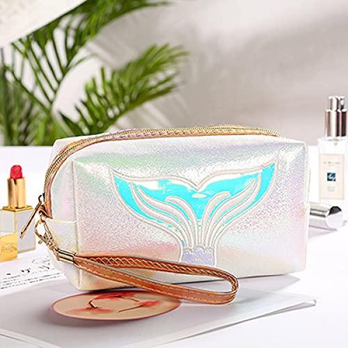 LSZA Bolsa cosmética, funcional bolsa de cosméticos para mujer, de viaje, necesidades, organizador de maquillaje, con cremallera, bolsa de maquillaje, kit de tocador, color blanco