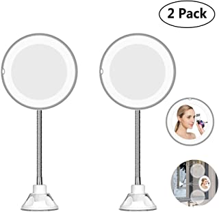 LED Lighted Portable Hand Cosmetic Magnification Light Up Mirrors, Flexible Mirror, Super Clarity, Distortion-Free with Bendable Neck As Seen 10x Magnification On TV (2 Pack)