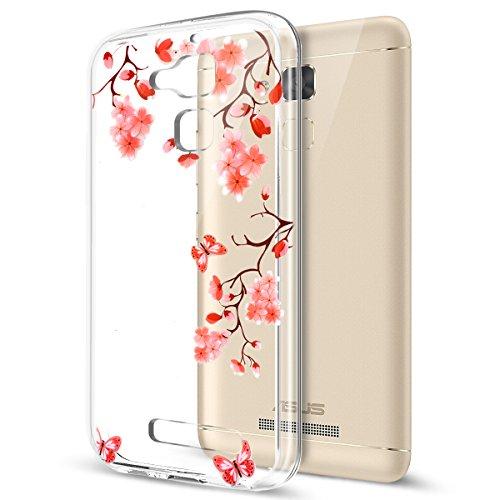 Kompatibel mit Asus ZenFone 3 Max 5.2 Hülle,Durchsichtig Gemalt Transparent TPU Silikon Hülle Handyhülle Tasche Hülle Cover Klar Schutzhülle für Asus ZenFone 3 Max ZC520TL 5.2,Schmetterlings Blumen
