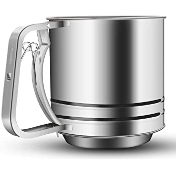 NPYPQ Stainless Steel Flour Sifter Large Baking Sieve Cup for Powdered Sugar