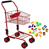 Toy Shopping Cart for Kids and Toddler - Includes Food - Folds for Easy Storage...