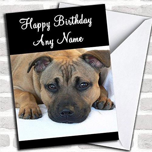 Staffordshire Bull Terrier Hond Verjaardagskaart Met Envelop, Kan Volledig Gepersonaliseerd, Verzonden Snel & Gratis