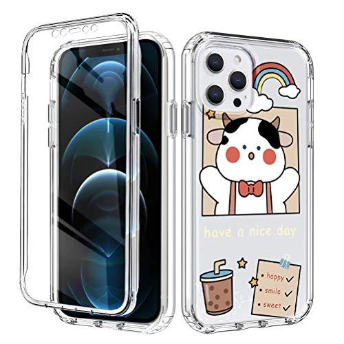 Yoedge Funda para Apple iPhone XS MAX 6,5',360 Grados Transparente Antigolpes Carcasa,PC Dura Bumper + TPU Silicona Case con Dibujos Animados,Pantalla Protector Cover para iPhone XS MAX,Vaca lechera