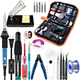 Soldering Iron Kit Electronics, 21-in-1, 60W Adjustable Temperature Soldering Iron, 5pcs Soldering Iron Tips, Soldering Iron Stand, Desoldering Pump, Magnifier, Solder Wire, Tweezer, PU Carry Bag