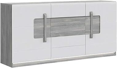 Meubletmoi Buffet 3 Portes Blanc laqué et décor chêne Gris avec éclairage LED - Design Contemporain - Collection ALEXIANE