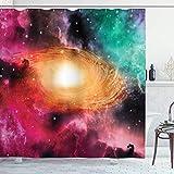 SanJIUCOM Tenda da doccia zodiacale 66x72 pollici, immagini astronomia colorate di una galassia a spirale Stelle Polvere di Stelle e Cosmo, Set da bagno in Tessuto con ganci, Nero Rosa