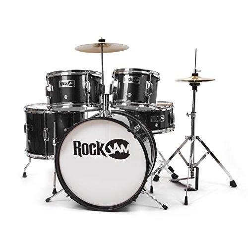 RockJam komplette 5-teiliges Junior Drum Set mit Becken, Drumsticks, Einstellbarer Thron und Zubehör - Schwarz